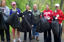 IU East's volleyball players took part in a cleanup effort on the Cardinal Greenway trail.