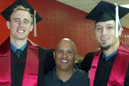 IU East athletic director Mark Hester (center) with graduates Devon Niehoff (left) and Tyler Rigby.