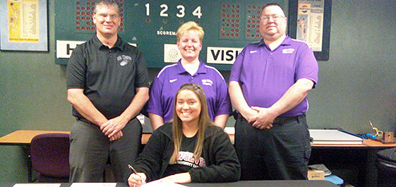 Candice Worland (front) will play golf for IU East.