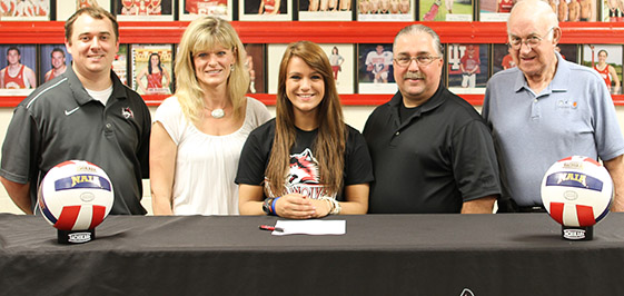 Lydia Smith (center) will play volleyball for IU East.